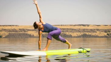 Yoga on surf board, Coulmbia River OR