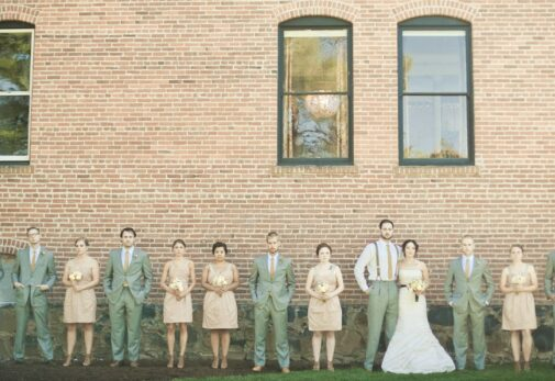 Wedding party lined up for photo at Balch Hotel