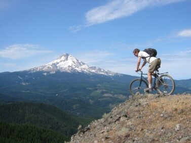 Mountain biking, Mt Hood in background