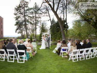 Wedding ceremony on the lawn at the Balch Hotel