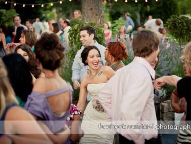 Wedding party dancing patio at the Balch Hotel