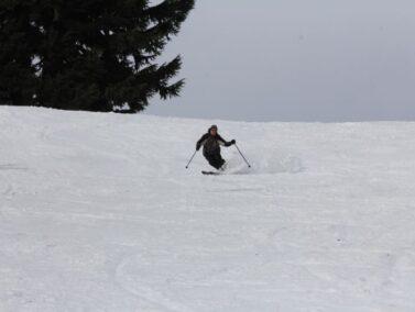 Josiah, owner of Balch Hotel skiing down Mt Hood