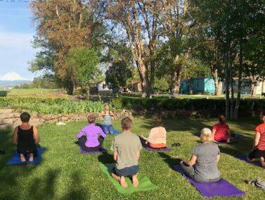 Yoga on the lawn, Balch Hotel Dufur OR